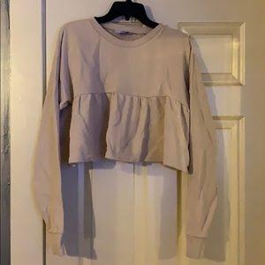 Cream Cropped Sweatshirt